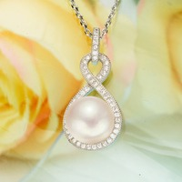 BELLA 925 Sterling Silver Inifity Figure Eight Bridal Necklace Cubic Zircon Ivory Natural Pearl Wedding Jewelry
