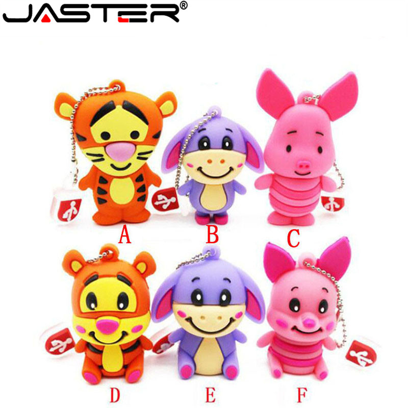 JASTER   The New Cute Tigger Eeyore Piglet  USB Flash Drive USB 2.0 Pen Drive Minions Memory Stick Pendrive 4GB  16GB 32GB Gift