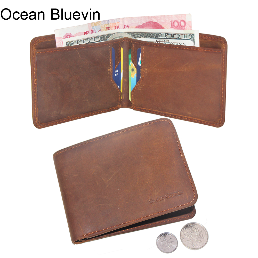 Classical New Vintage Business Mens Wallets Genuine Leather Lightweight Brown Color ID Card Holder Drivers License Bit Wallet