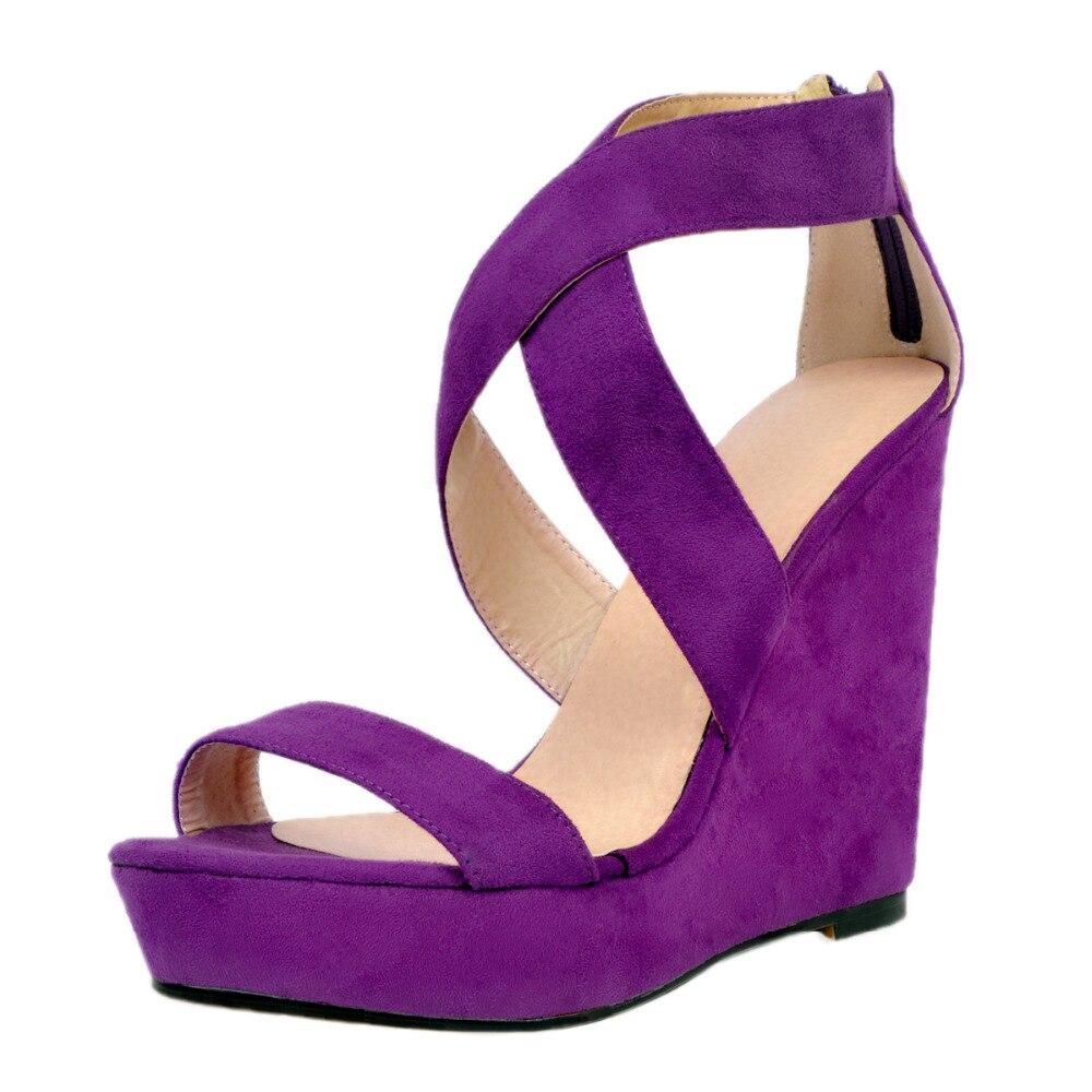 Sandales Chic Robe Boldees Chaussures Super Daim En Ouvert pourpre Chaude Bout Noir Plus Haute À Compensées Génial Plate Size43 Violet Femmes Nighclub forme dPqCXqrSw