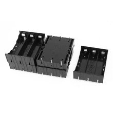 EDT 5 Pcs Black Plastic 3 x 3.7V 18650 Batteries 6 Pin Battery Holder Case