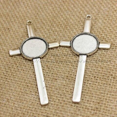 cabde02faa67 ②(10 шт. лот) античный серебряный металлический сплав Крест 40 84 ...