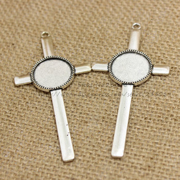 (10pcs/lot) Antique silver Metal Alloy cross 40*84mm (Fit 20mm Dia) Round Cabochon Settings Jewelry Pendant Blanks Charms T0257