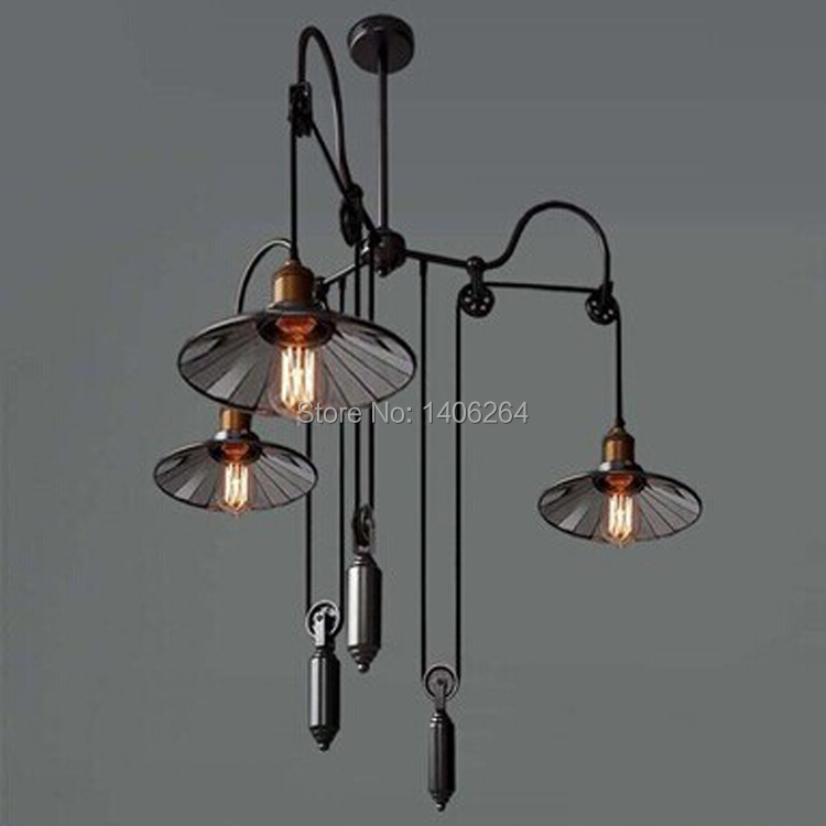 Vintage With 3 Light Mirror Lifting pulley Block Design Artistic Pendant Light(Wire Adjustable) Cafe Bar Coffee Shop Store Club m75 750kgs pulley 304 stainless steel roller crown block lifting pulley factory direct sales all kinds of driving pulley