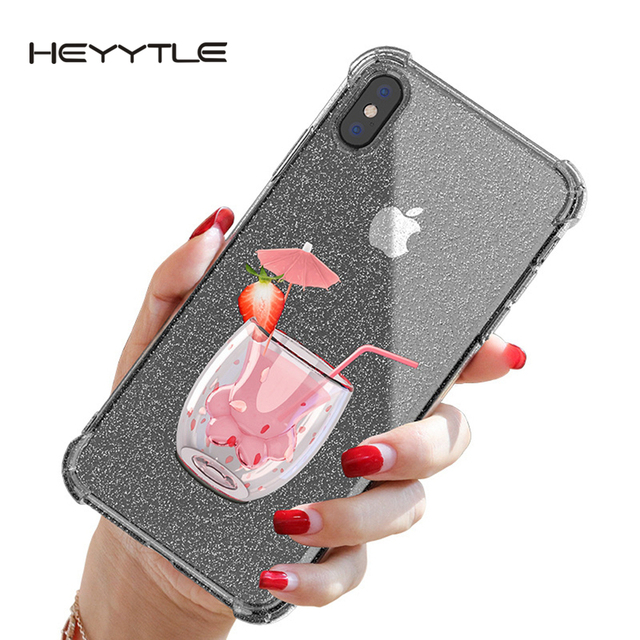 Heyytle Transparent Glitter Case For iPhone 8 7 Plus 6 6s Airbag Shockproof Case For iPhone XR X XS MAX 9 Soft TPU Cover Coque