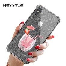 Heyytle Transparente Caso Glitter Para iPhone 8 7 Plus 6 6 s Airbag Caso À Prova de Choque Para o iphone XR X XS MAX 9 Coque Capa TPU Macio