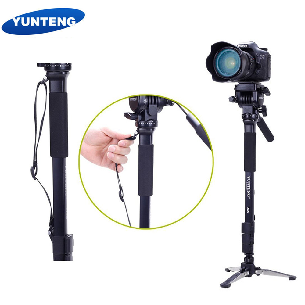 Yunteng 288 Photography 58-Inch Light Weight Monopod With Fluid Pan Head Quick Release Plate Unipod Holder and Bag DSLR Cameras ulanzi vct 288 58in photography tripod monopod unipod with fluid pan head quick release plate for iphone canon nikon dslr camera