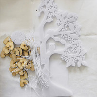 Acrylic Wedding Guest Book Tree,100pcs Blank Wooden Heart tag Visit Sign Tree for Wedding Party Decoration Supplies