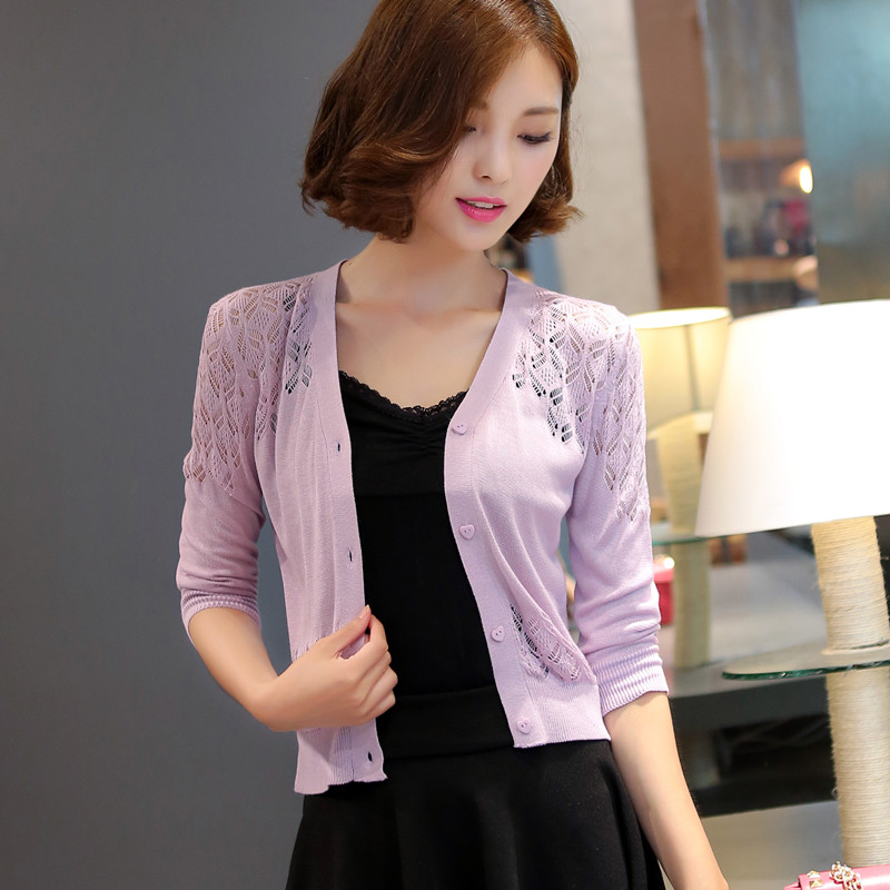 Sweater, Cardigan, Thin Coat, 2019 Spring And Summer Wear, New Short Sweater, Hollowed Out And Small Shawl Sunscreen.(China)