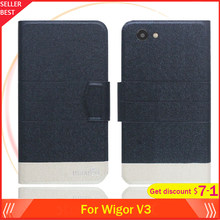 "5 Colors Hot!! Wigor V3 Case 5"" Flip Ultra-thin Leather Exclusive Phone Cover Fashion Folio Book Card Slots(China)"