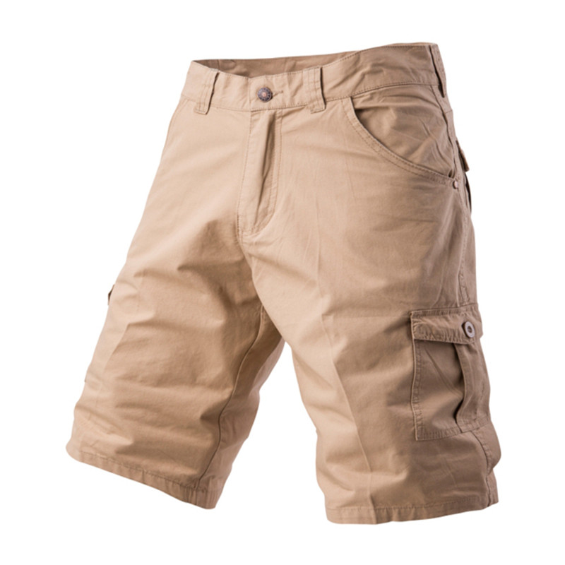 Summer Casual Shorts Men Cotton Fashion Style Pockets Mens Solid Khaki Beach Knee Length Shorts Plus Size For Male 6087