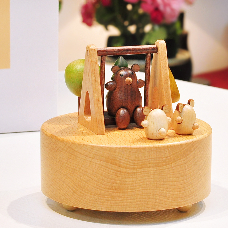 Refinement Wood Tanabata Valentine's Day Rotation Music Box Personality House And Home Furnishings Creative Artware Gift L893 bricolage model diy production nuts squirrel wood house refinement with led light house and home furnishings birthday gift l481