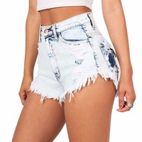 European And American BF Summer Wind Female Light Blue High Waist Denim Shorts Women Worn Loose