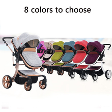 Russian wholesale new luxury baby stroller 3 in 1 high landscape three-dimensional four round baby stroller carts strollers
