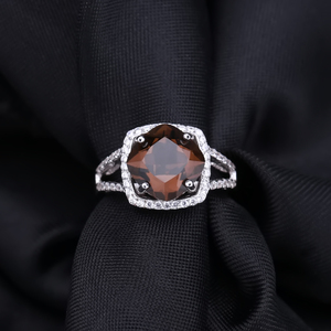 Image 4 - GEMS BALLET 5.22Ct Natural Smoky Quartz Wedding Rings Solid 925 Sterling Silver Vintage Gemstone Ring Fashion Jewelry For Women