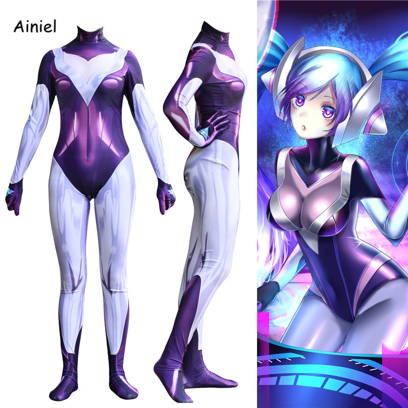 Ainiel LOL DJ Sona Ethereal Cosplay Costume 3D Printed Lycra Spandex Zentail Halloween Uniform Outfit Jumpsuit Free Shipping