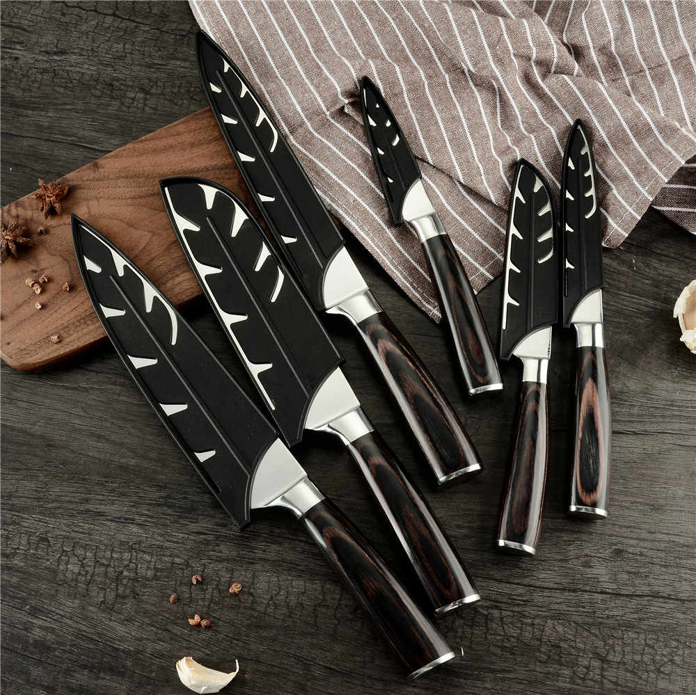 XYj 6pcs Black Plastic Kitchen Knife Blade Protector Cover For Stainless Steel Knife Set New Arrival High Quality Knife Cover