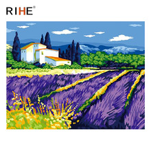 RIHE Flower Field Diy Painting By Numbers Abstract Country Oil On Canvas Cuadros Decoracion Acrylic Wall Picture Art