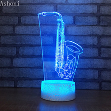 Saxophone 3D Table Lamp Touch Usb Led Night Lights Home Decor 7 Color Changing Desk Lamp for Kids Xmas Gifts marvel superheroes 3d night lights novelty 3d touch iron man table lamp decoration 7 color rgb 3d led lights for kids gifts dec