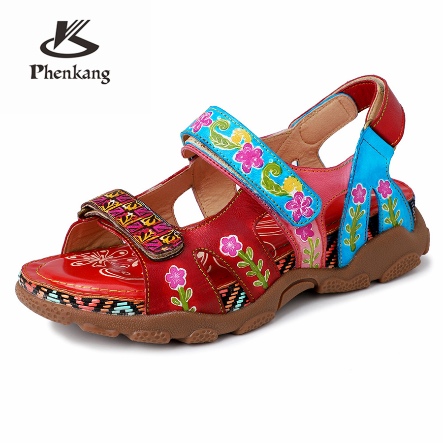Women Genuine cow Leather casual sandals Slippers summer oxford shoes woman shoes oxfords flats sandals for