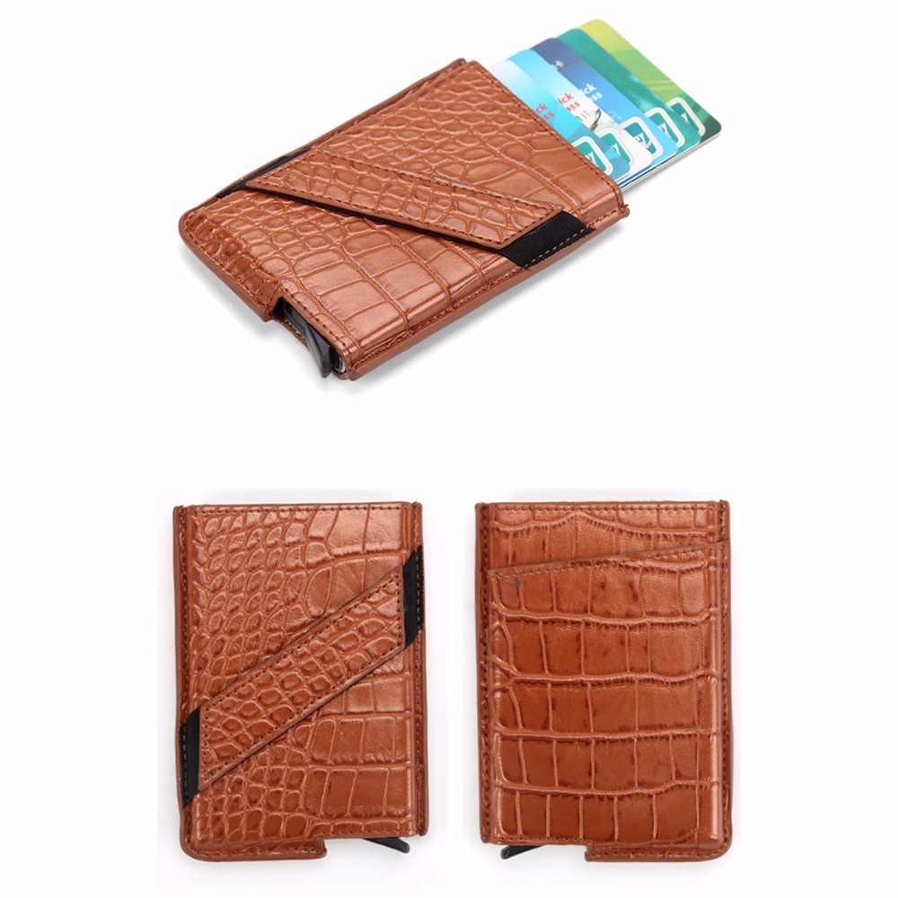 Wholesale New Metal Card Holder RFID Aluminium Alloy Credit Card Holder PU Leather Wallet Antitheft Automatic Pop Up RFID Wallet in Card ID Holders from Luggage Bags