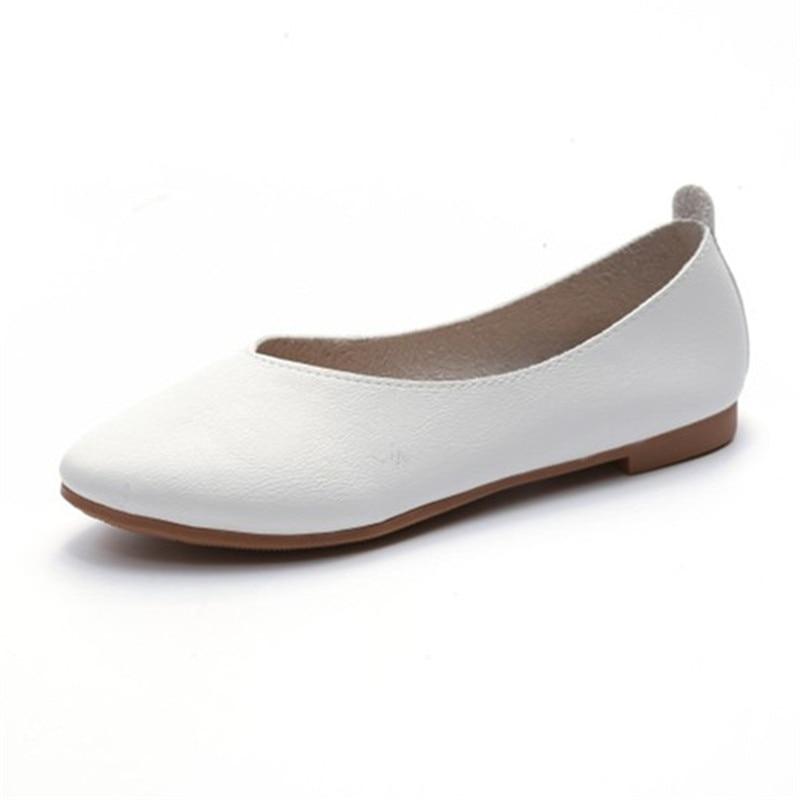 Femmes Chaussures Profonde Casual Bout Mocassins blanc Slip Maziao Peu En Bouche Appartements Sur Pointu Ballerines kaki Cuir Beige r1qt5xHrwg