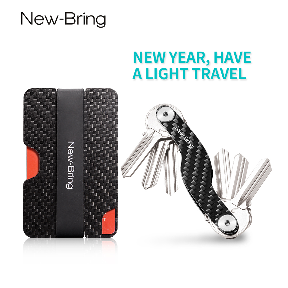 NewBring Minimalist Carbon Fiber Suit Bag Set: Card Holder+Key Holder  Slim Light RFID Wallet Durable Key Organizer