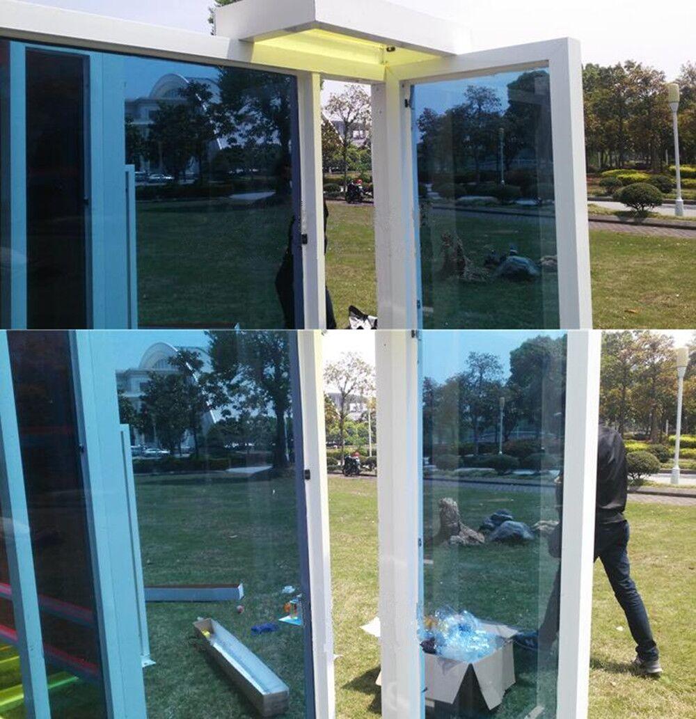 1.52x10m/60x33ft 20X60 Dark Blue Transparent Window Tint Glass Decorative Film Adhesive for Home&Office Anti UV