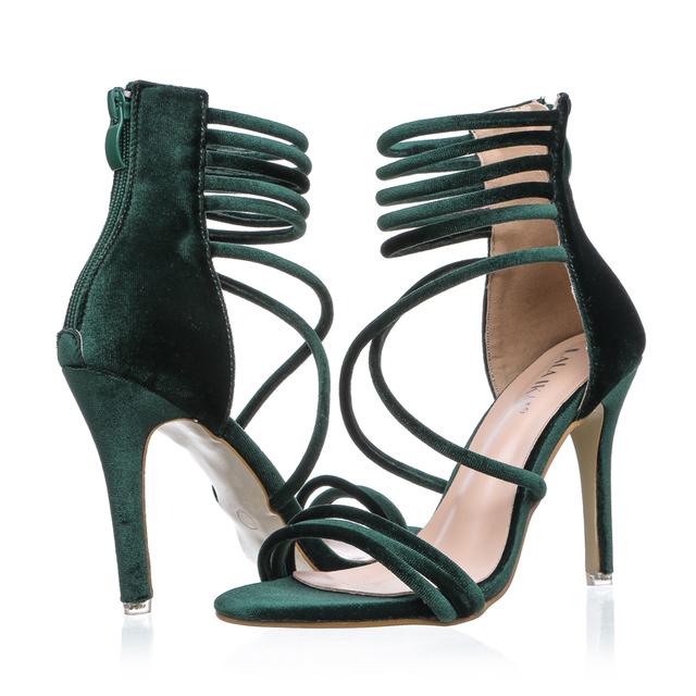 LALA IKAI 2017 Sexy High Heels Sandals Green Velvet Women Sandals Gladiator Sandals Women Summer Party Shoes XWF1074-4