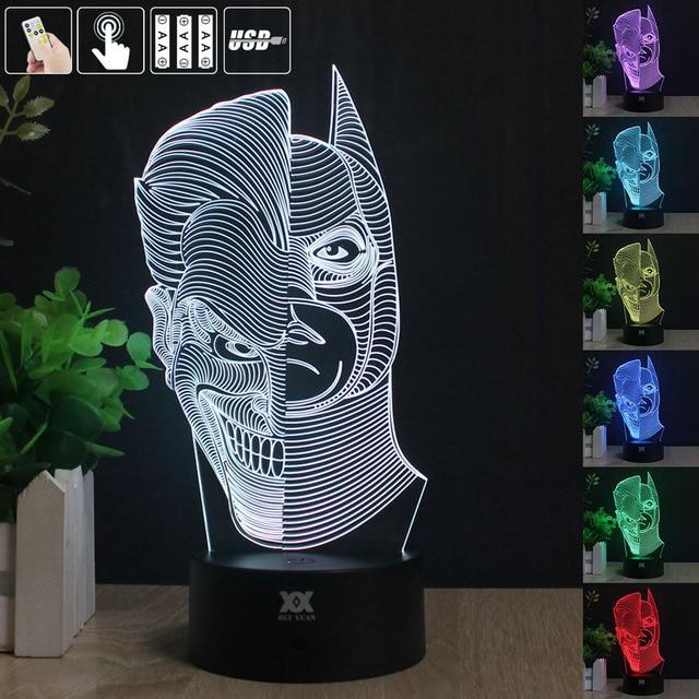 HY Batman & Coringa 3D Remoto LED Night Light Touch Table Desk Lamp 7 Alterar Cor LED USB Carregador de Presente Cartão multifunções