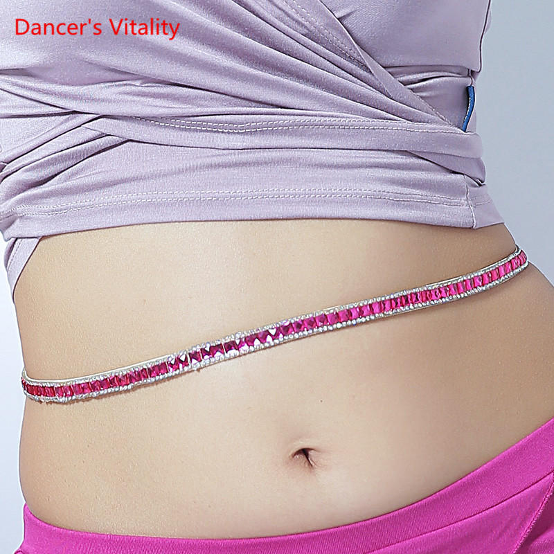 Belly Dance Beginner Waist Chain Single Row Bright Flashing Diamond Belt Stage Women Dance Accessories 3colour