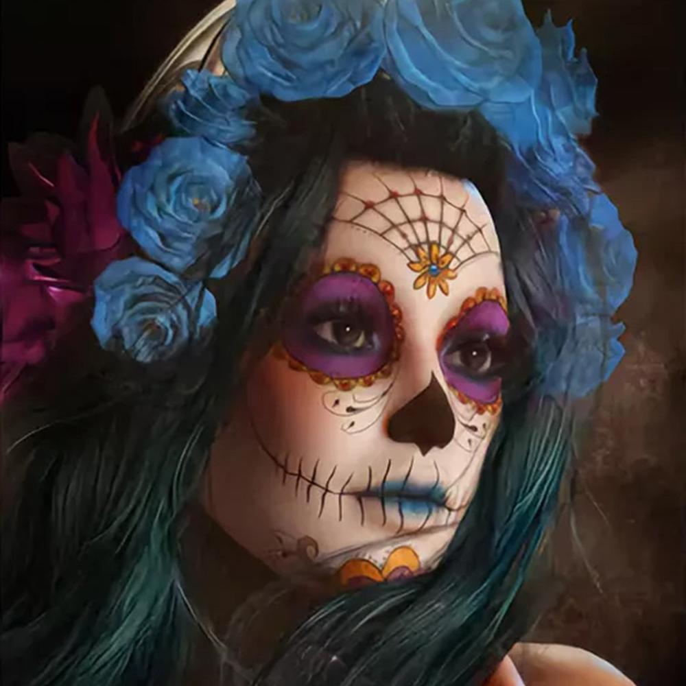 Full Square Round Drill 5d Diy Diamond Painting Skull Girl Embroidery Cross Stit