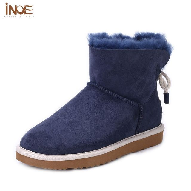 special sales variety design 2019 wholesale price US $146.99 |INOE Sheepskin Snow Boots Fur lined Ankle Winter Boots Women  Bow Back Fleece lining Blue Boots Genuine Leather Shoes Big Size 10-in  Ankle ...