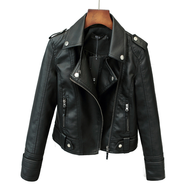 Fitaylor New Spring Autumn Women Short Faux PU Jacket Slim Fashion Punk Outwear Motorcycle Leather Jacket Casual Coat