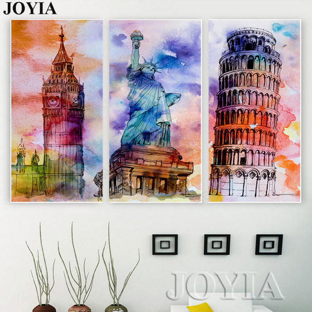 vintage paintings london canvas wall art painting watercolor world