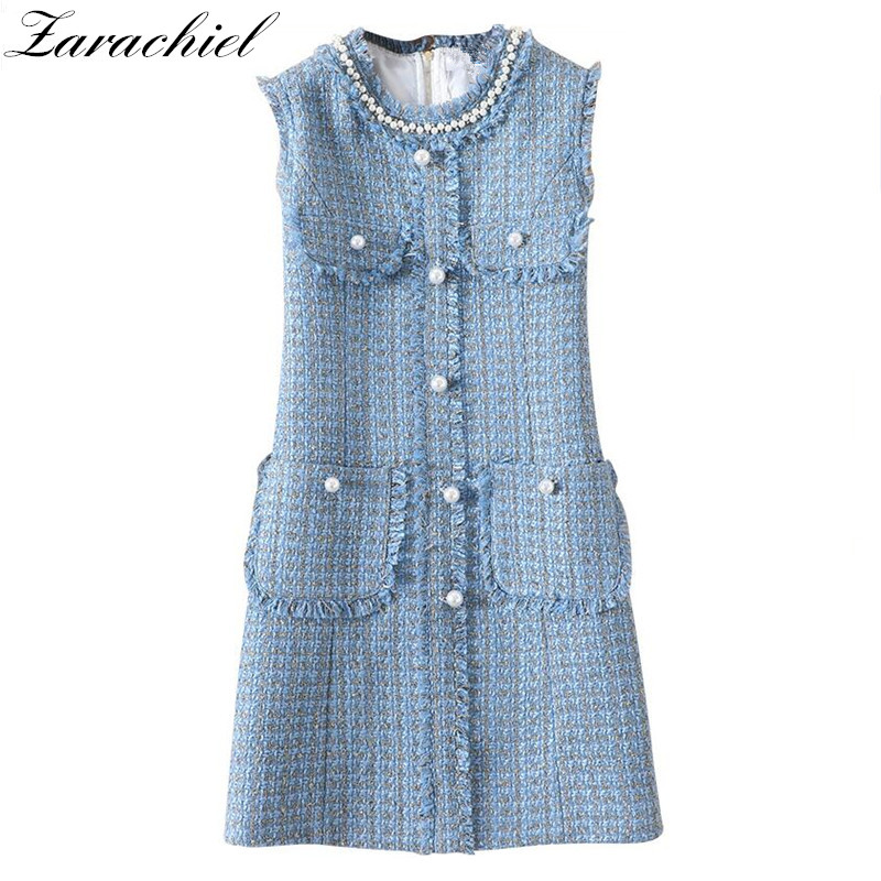 Newest Fashion 2019 Runway Designer Blue Tweed Dress Women s Sleeveless Pearls Beading Buttons Pocket Fringe