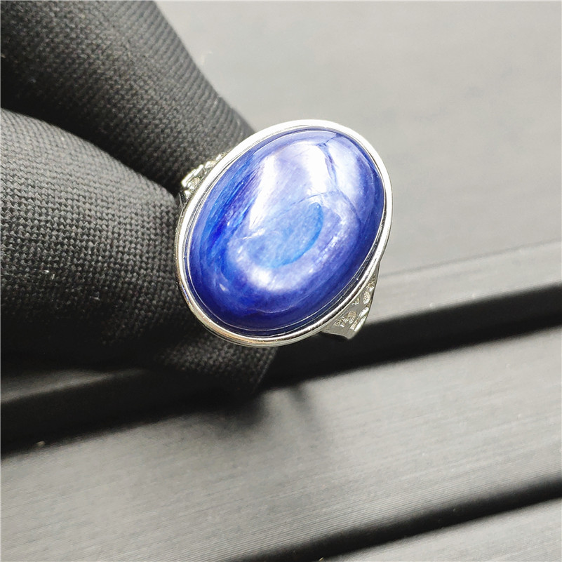 Natural Kyanite Ring Blue Cat Eye 18x13mm Healing Stone Oval Shape Anniversary Party AAAAA Woman Jewelry Luxury Adjustable RingNatural Kyanite Ring Blue Cat Eye 18x13mm Healing Stone Oval Shape Anniversary Party AAAAA Woman Jewelry Luxury Adjustable Ring