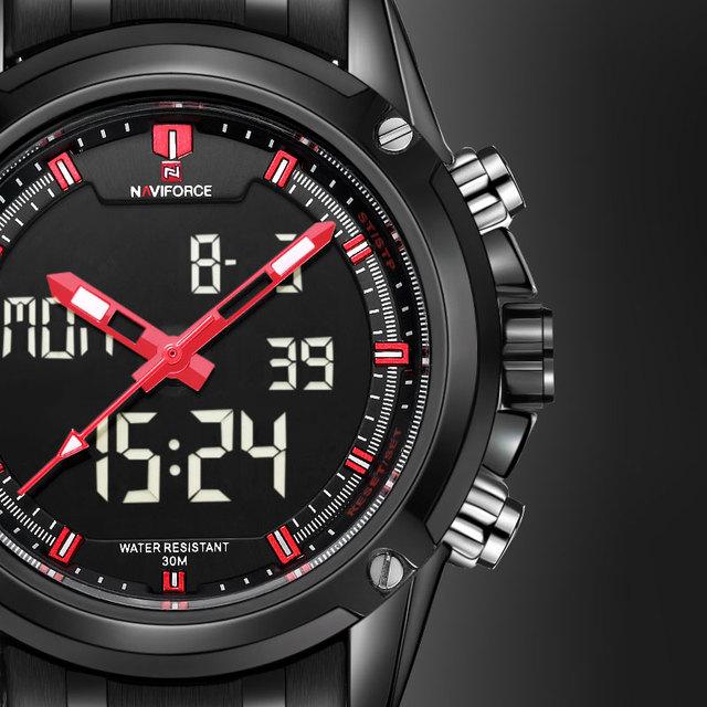 Relógios Homens Marca De Luxo Famoso Logotipo NAVIFORCE Militar Display LCD Luminoso Analógico Digital Data Semana Alarme Relogio masculino