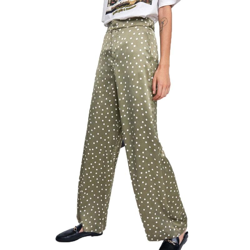 Summer 2018 womens clothing casual dot   pants   women high waist   pants     wide     leg     pants