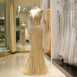 Image 5 - 100% Real Gold Evening Dresses Crystal Mermaid Deep V neck Sexy Sleeveless Prom Formal Party Gowns abendkleider robe de soiree
