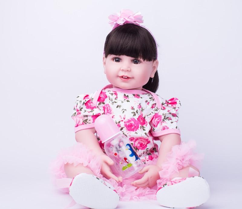 Oyuncaklar ve Hobi Ürünleri'ten Bebekler'de 55 cm Silikon Yeniden Doğmuş Bebekler oyuncak bebekler Kız Brinquedos Yürümeye Başlayan Prenses Bebek Bebek Çocuk çocuklar için doğum günü hediyesi Yatmadan Oyun Evi Oyuncak'da  Grup 1