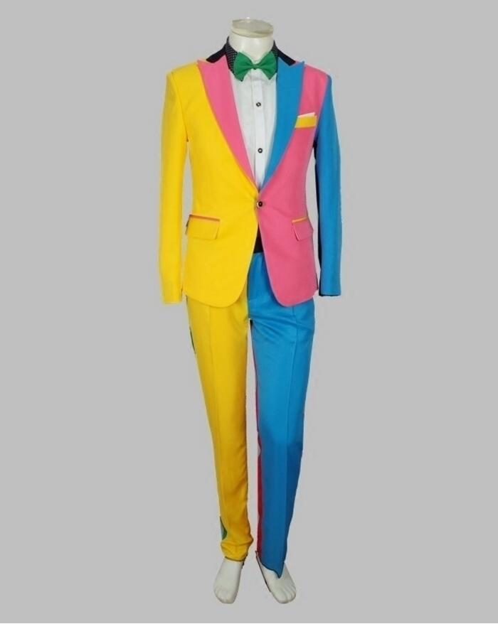 Male Singer Hip Hop Performance Suit Adult Personality Color Matching Irregular Color Suit Clown Suit Costume Two-piece Set