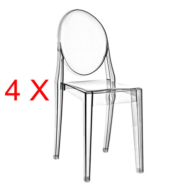 4 X Louis Ghost Chair Clear Plastic Chairs