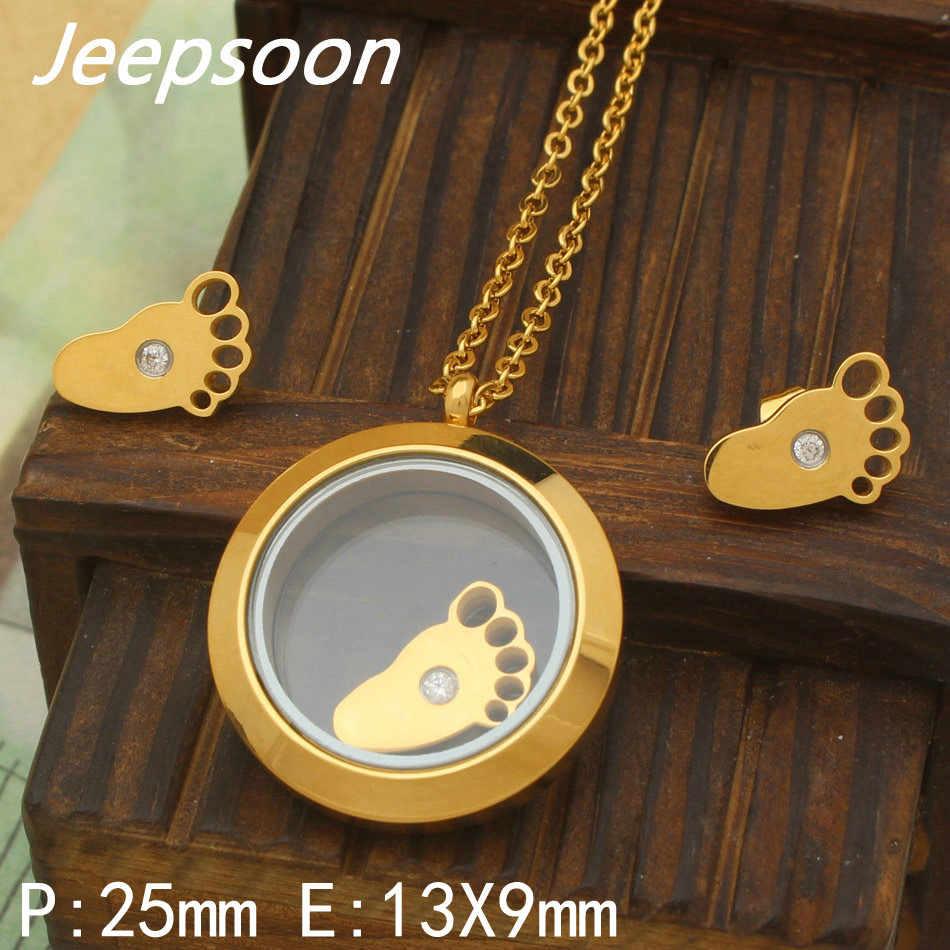 Nieuwste Fashion Rvs voet Sieraden Zilveren Kleur hanger en earring sets Voor Vrouwen Groothandel SBJJAKBJ