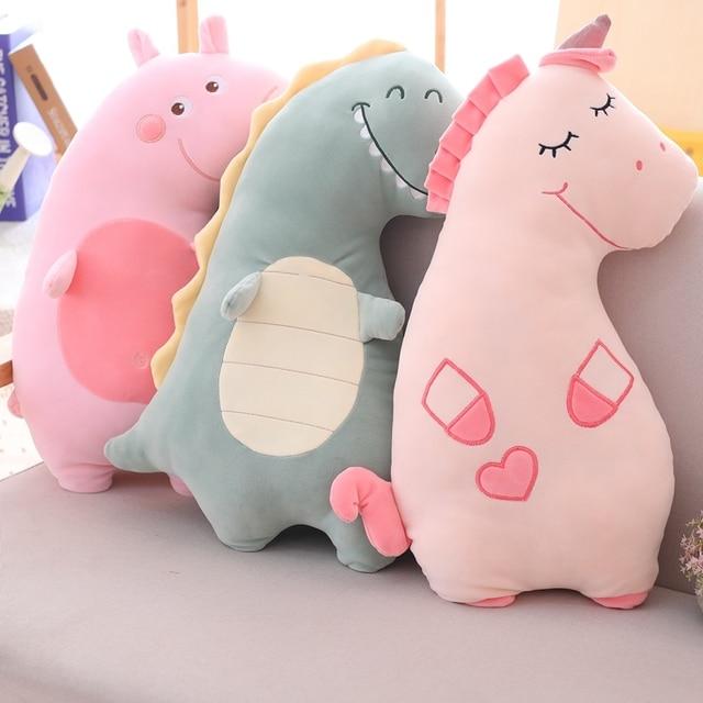 Hot New 60 70 Creative Cartoon Cute Unicorn Pig Dinosaur Plush Toys