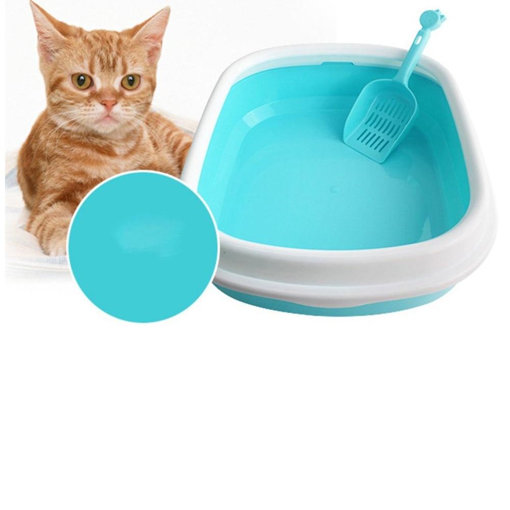Anti-splash Reusable Cat's Litter Box Anti-splash Bedpan Pet Toilet Semi-closed Cat's Bedpans Portable Pet Supplies