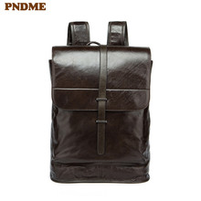 PNDME retro simple genuine leather mens womens backpack large capacity  waterproof cowhide daily travel student schoolbag