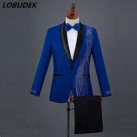 Men Suits Blue Black Crystals Blazers musical Vocal Concert singer performance Costume Wedding Master Prom Compere stage suit