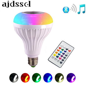 цена на E27 Smart RGB RGBW Wireless Bluetooth Speaker Bulb 12W Music Playing Dimmable LED Bulb Light Lamp with 24 Keys Remote Controller