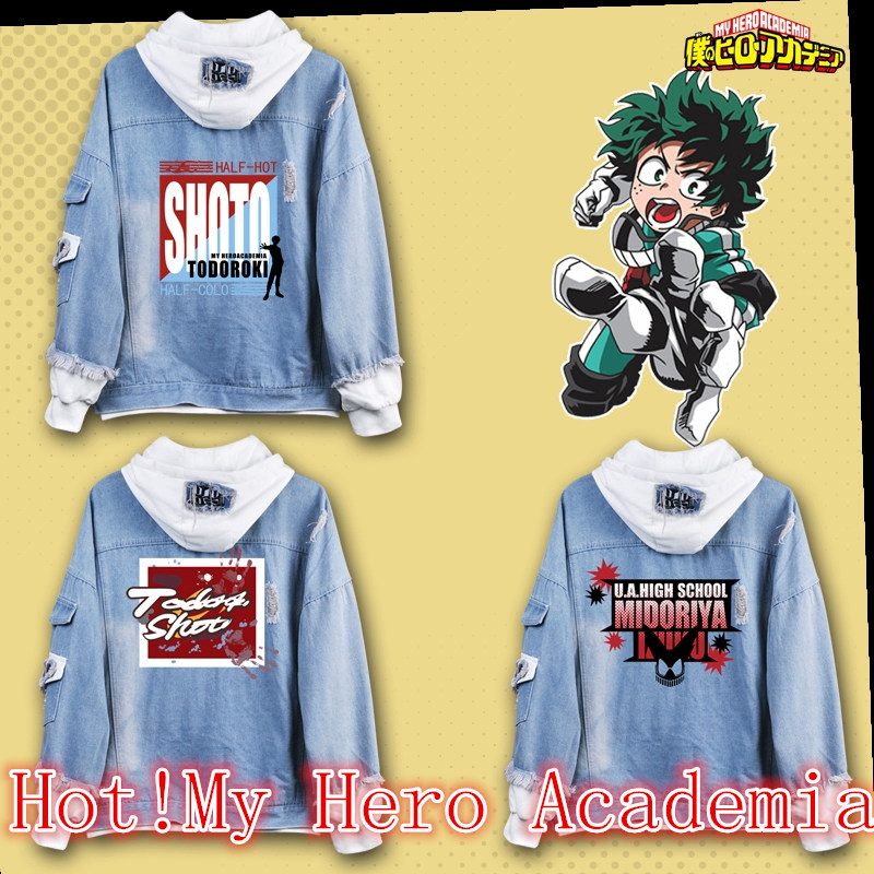 Anime My Hero Academia Boku no Hero Academia Midoriya Izuku Denim Jacket Coat Sweatshirts Hoodie Cosplay Costumes Uniform Suit